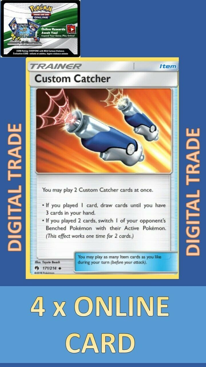 171//214 Uncommon NM-Mint Pokemon SM08 Lost Thunder 4x Custom Catcher