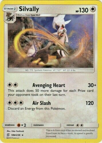 MINT Pokemon SILVALLY 184//236 Unified Minds RARE COSMOS HOLO PROMO