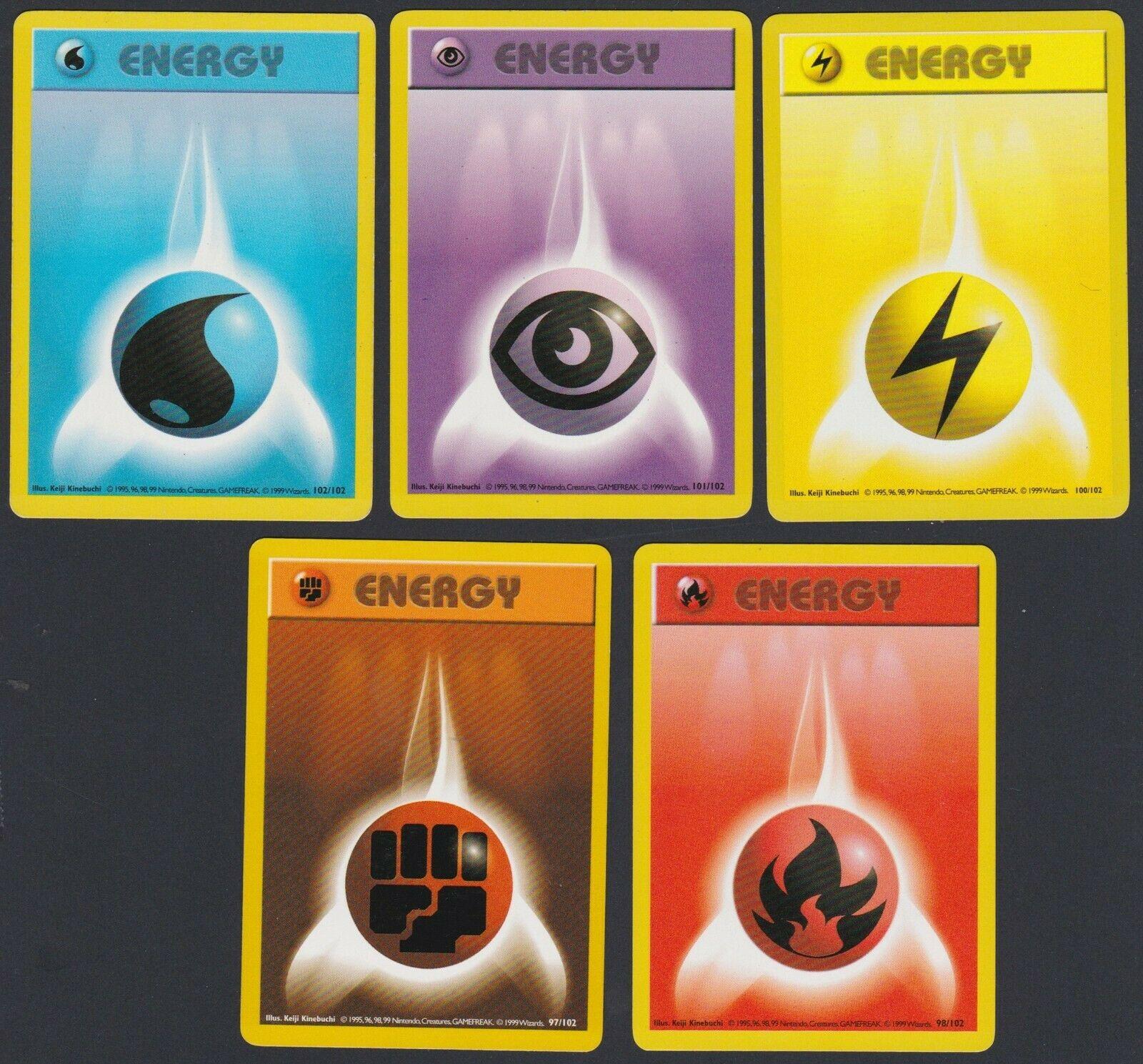 Fighting Energy 97//102 Base Set Pokémon Cards Lot WOTC Original Vintage