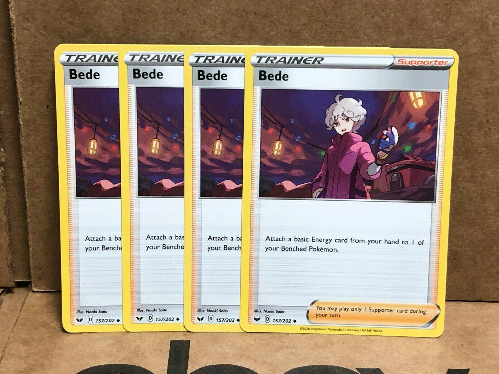 Pokemon TCG Sword & Shield Base - 4x Bede Trainer Card Playset 157/202 - Image 1