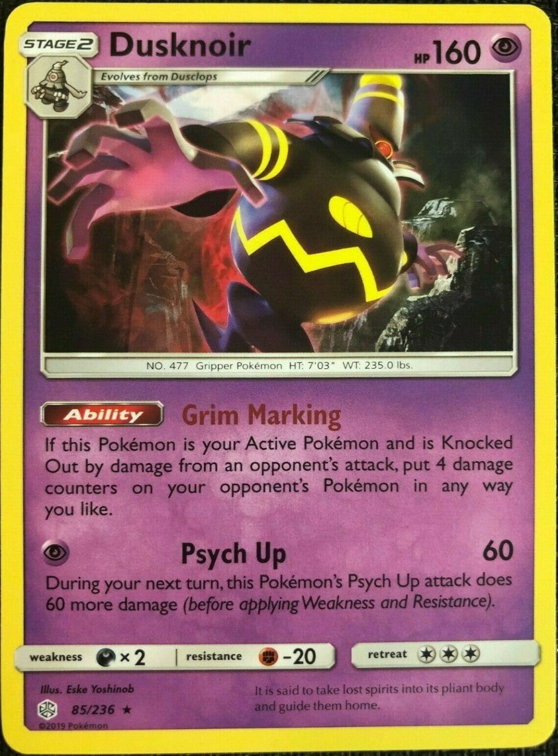 ~Pokemon rare Holo Foil Dusknoir Card 85/236 Sm Cosmic Eclipse! - Image 1