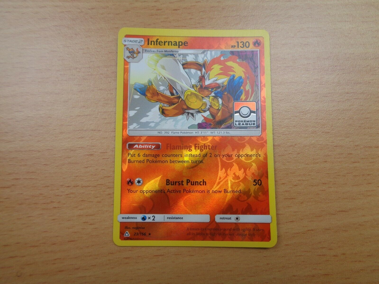 Infernape (23/156) RARE REVERSE HOLO POKEMON LEAGUE PROMO Card, Ultra Prism - Image 1