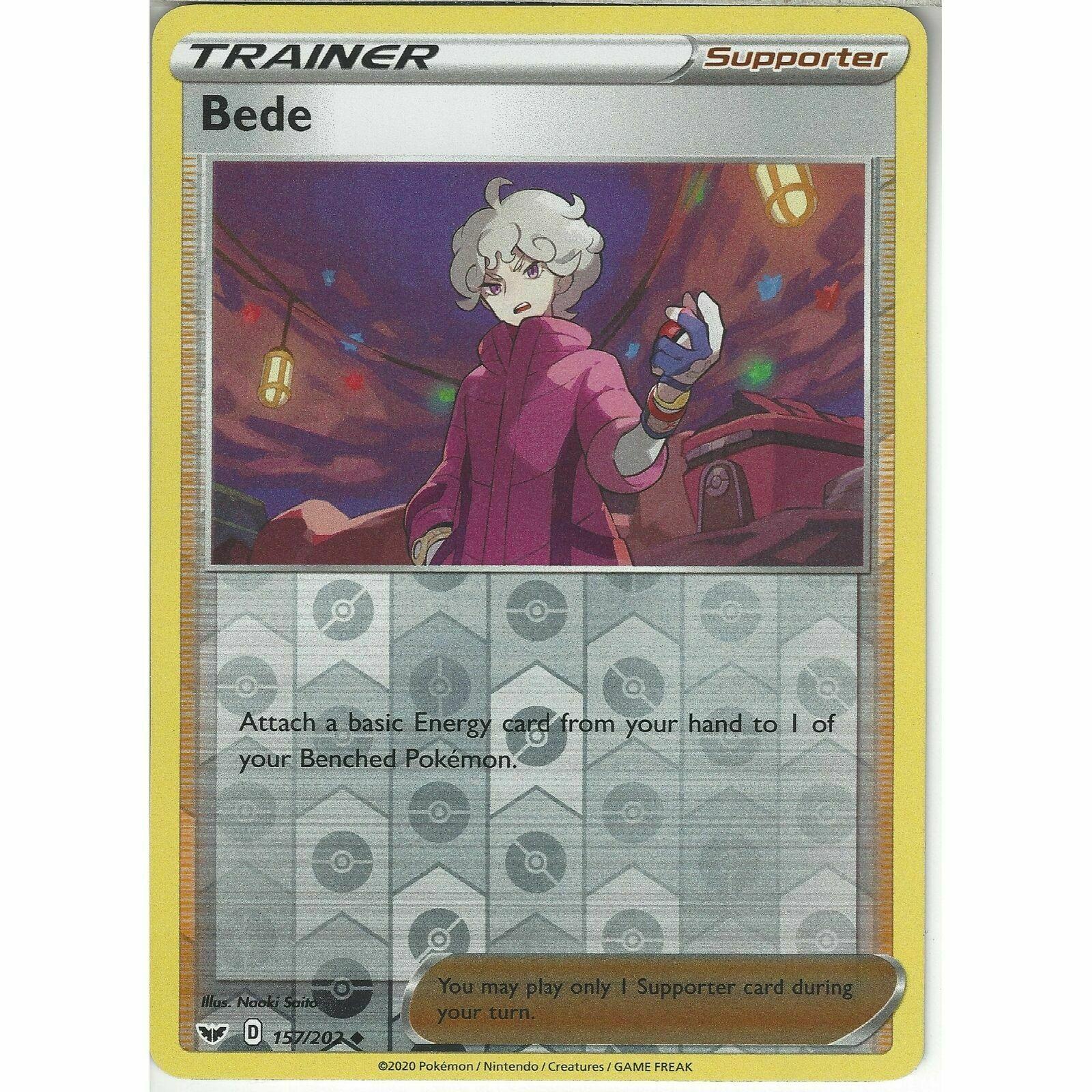 157/202 Bede | Uncommon Reverse Holo Card | Pokemon TCG Sword & Shield Base Set - Image 1