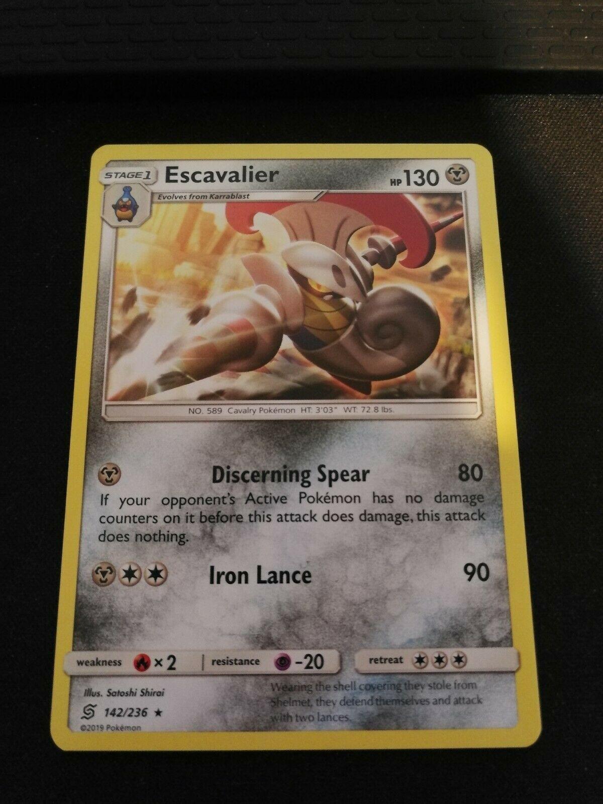 Pokemon Escavalier 142/236 Rare Unified Minds Near Mint