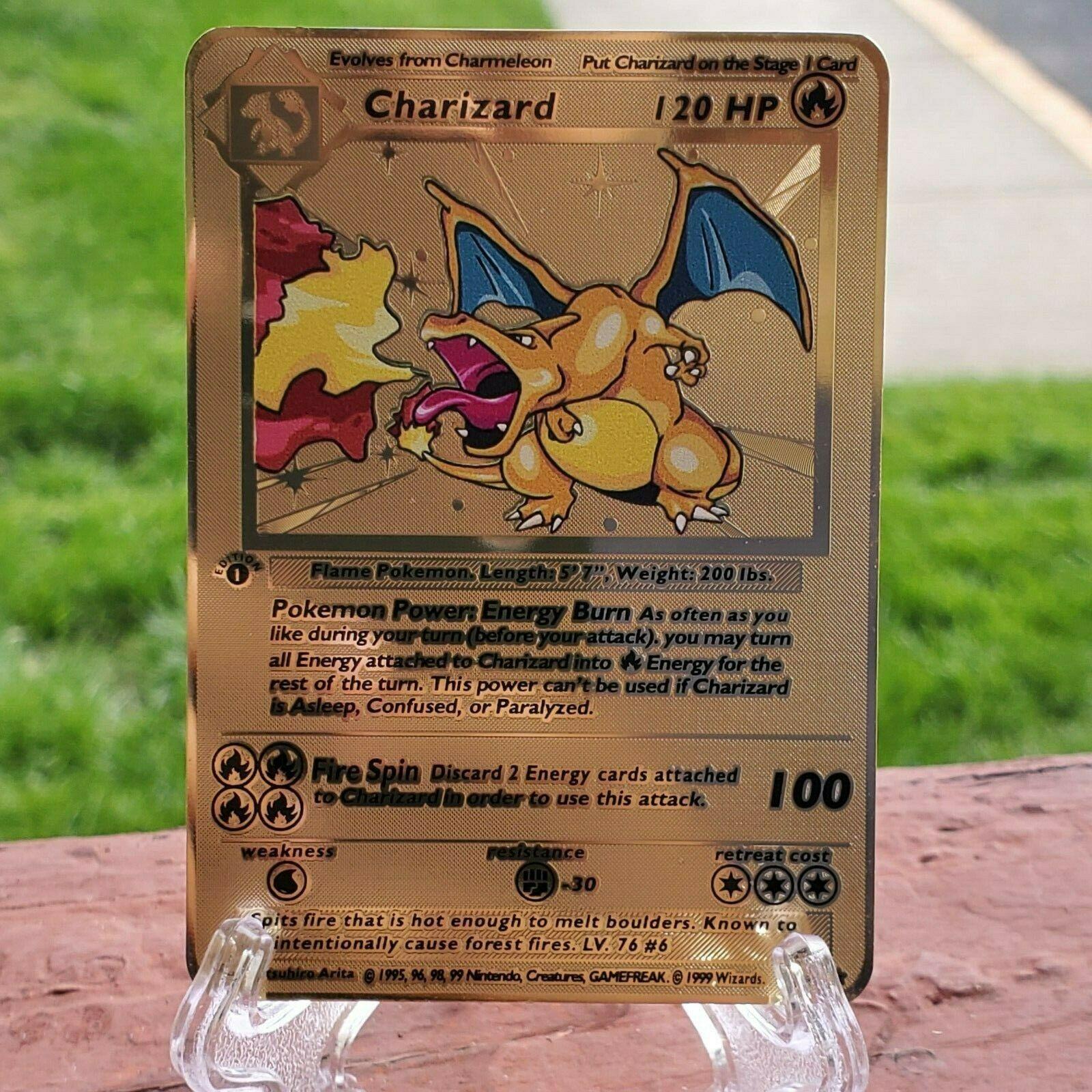 Pokemon CHARIZARD 4//102 BASE SET METAL GOLD CARD