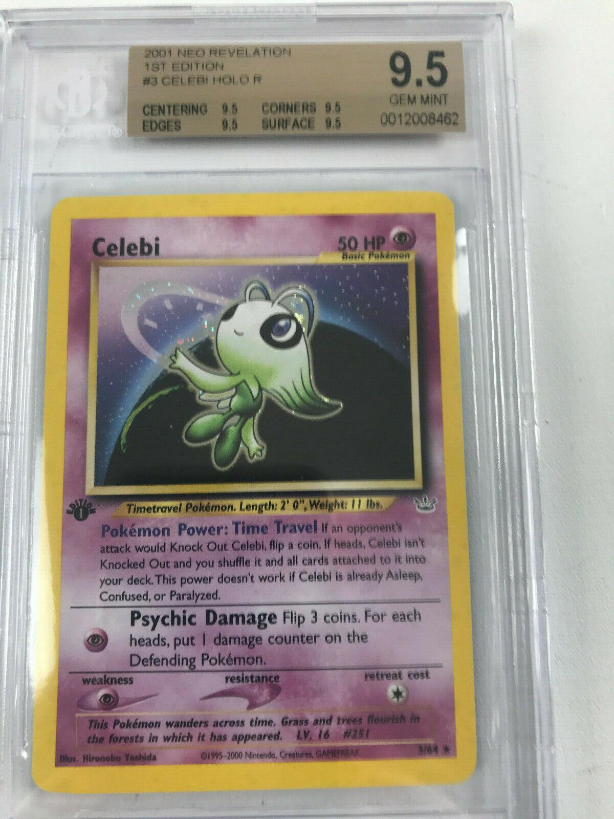 PSA 10 GEM MINT Pokemon 1st Edition Celebi Holo Rare Neo Revelation 3//64 2001