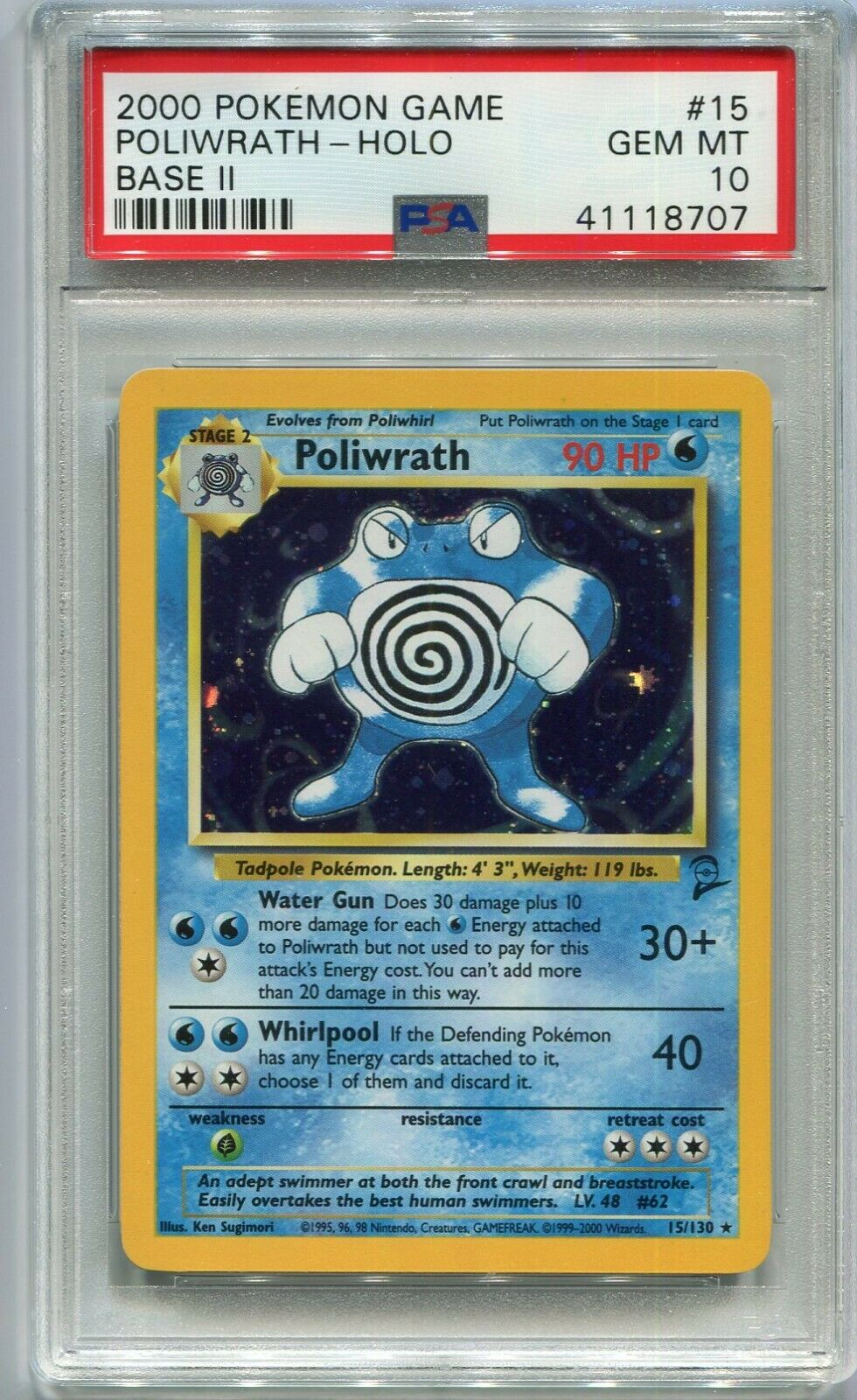 Pokemon Poliwrath Base Set 2 15//130 Rare Holo Played