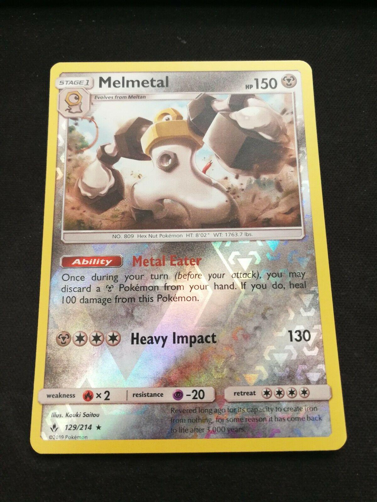 Pokemon Melmetal 129/214 Reverse Holo Rare Unbroken Bonds Near Mint