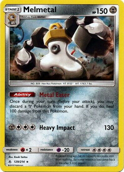 Melmetal 129/214 Pokemon Card Rare Holo Sun & Moon Unbroken Bonds NM+
