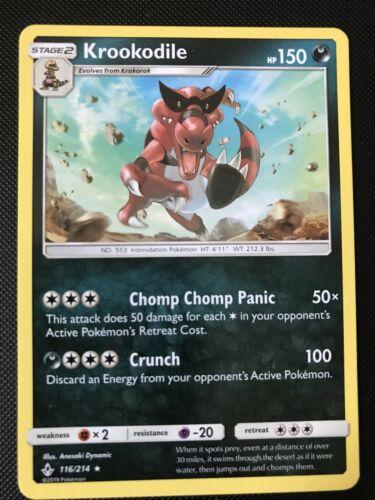 Krookodile 116/214 - Rare Pokemon Card - Unbroken Bonds Set (2019) - NM