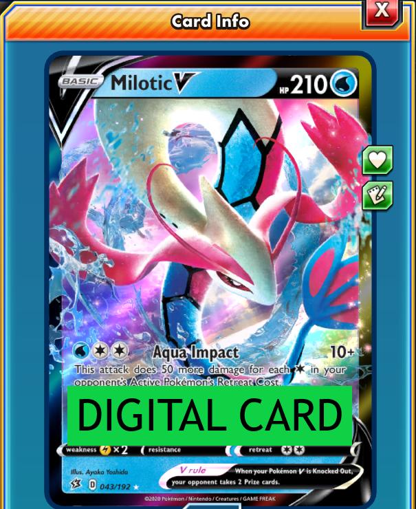 Milotic V  043//192 Rebel Clash for Pokemon Card Online TCG Digital