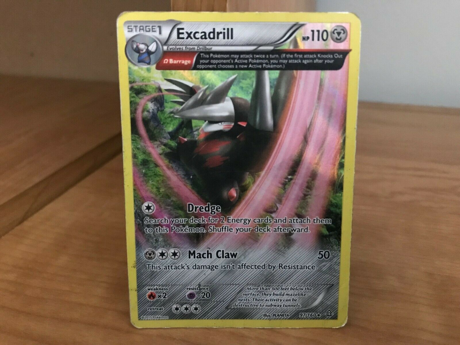 Pokemon Card Excadrill Primal Clash Rare 97/160 Foil in Heavy Played Condition!