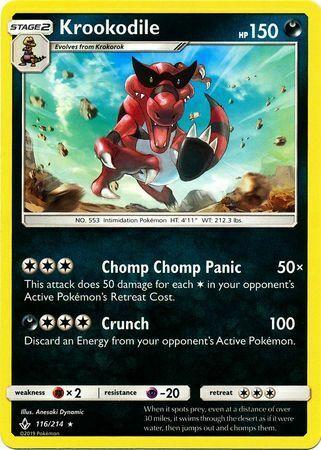 Krookodile 116/214 - Rare Pokemon Card - Unbroken Bonds Set (2019) - NM - Image 1