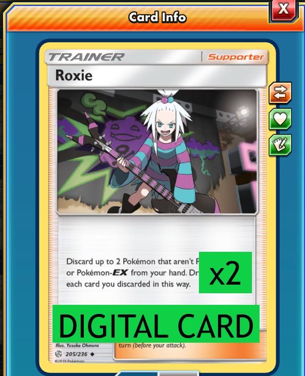 4X Roxie 205//236 Cosmic Eclipse Pokemon Online Digital Card