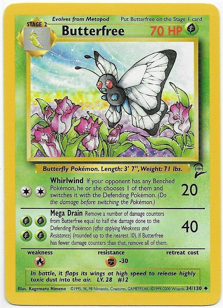 Butterfree 34//130 UncommonBase Set 2Pokemon Card