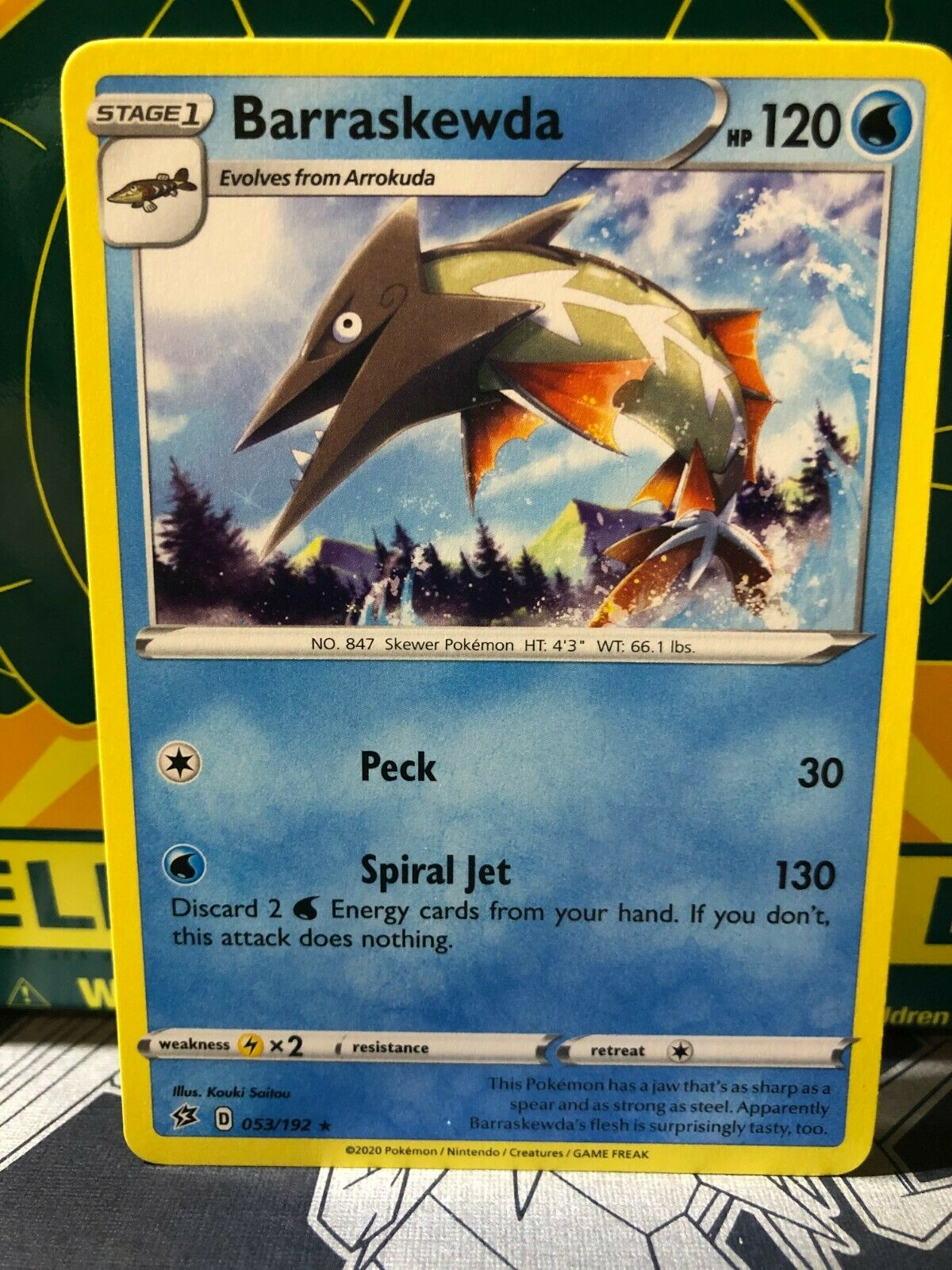 Pokemon Card   BARRASKEWDA   Reverse Holo Rare  53//192  REBEL CLASH  *MINT*  053