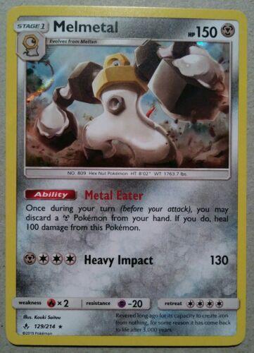 Pokemon - Melmetal 129/214 - Unbroken Bonds - Rare - Holo - MINT