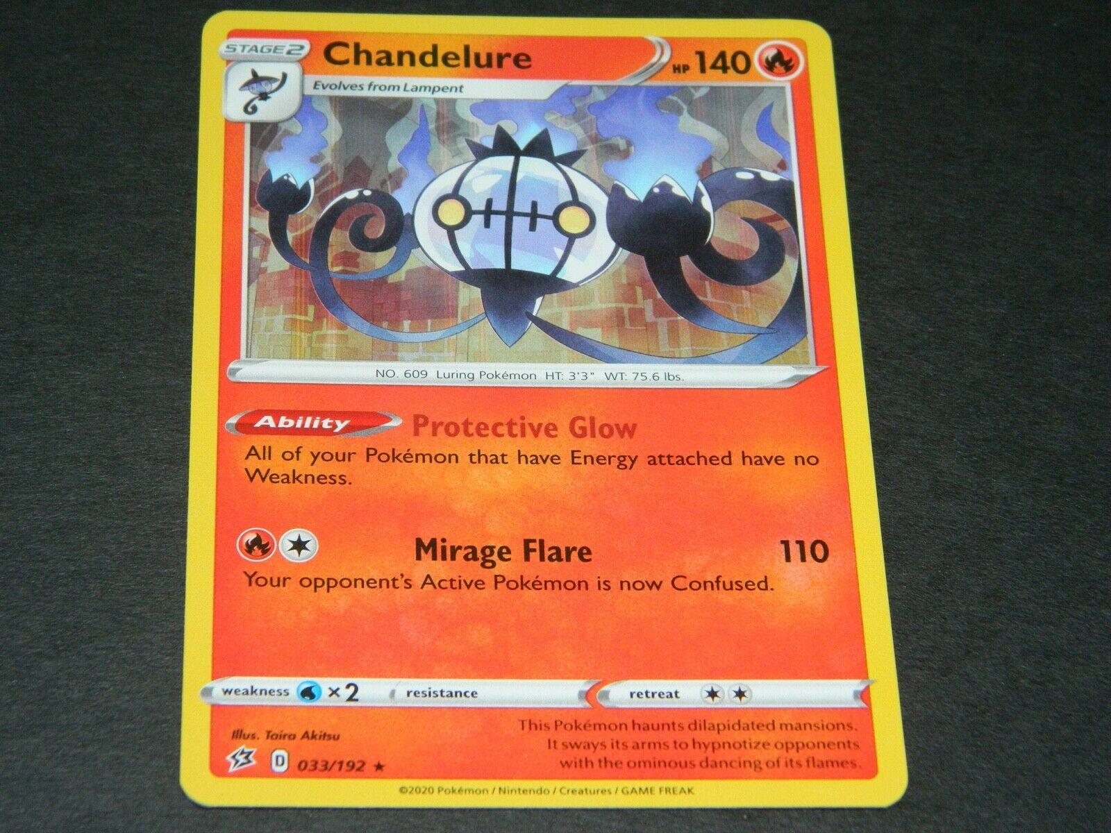 Pokemon TCG Card Rebel Clash Mint NM Chandelure 33//192 Rare Holo