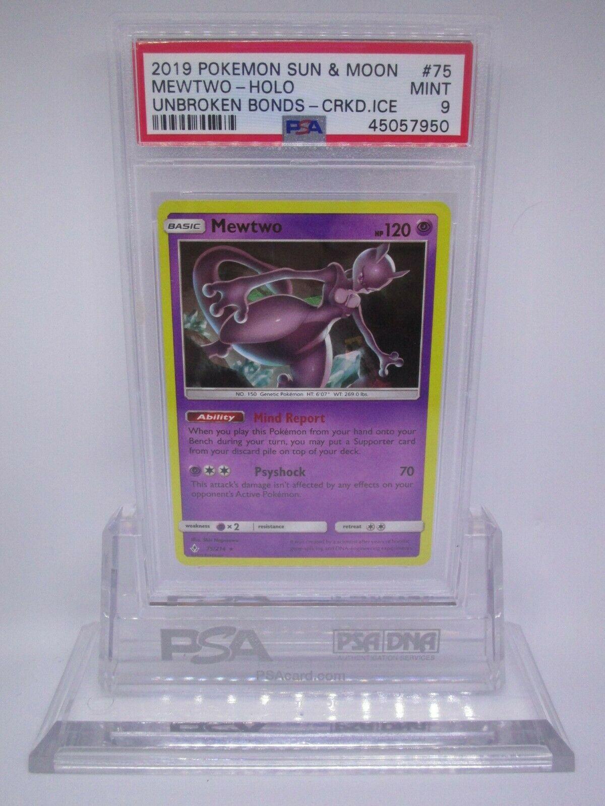 PSA 9 MINT Mewtwo SM Unbroken Bonds Cracked Ice Holo Pokemon Card 75/214     M28