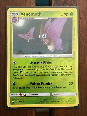 Pokemon Card  VENOMOTH  REVERSE HOLO RARE 11/214  UNBROKEN BONDS  **MINT**