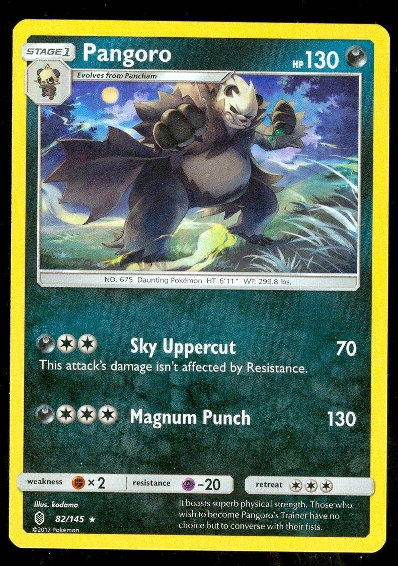 Pokemon 4X Pangoro 82//145 Sun /& Moon Guardians Rising Rare PERFECT MINT