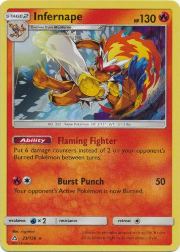 Pokemon 2X INFERNAPE 23/156 RARE HOLOFOIL MINT CARD ULTRA PRISM - Image 1