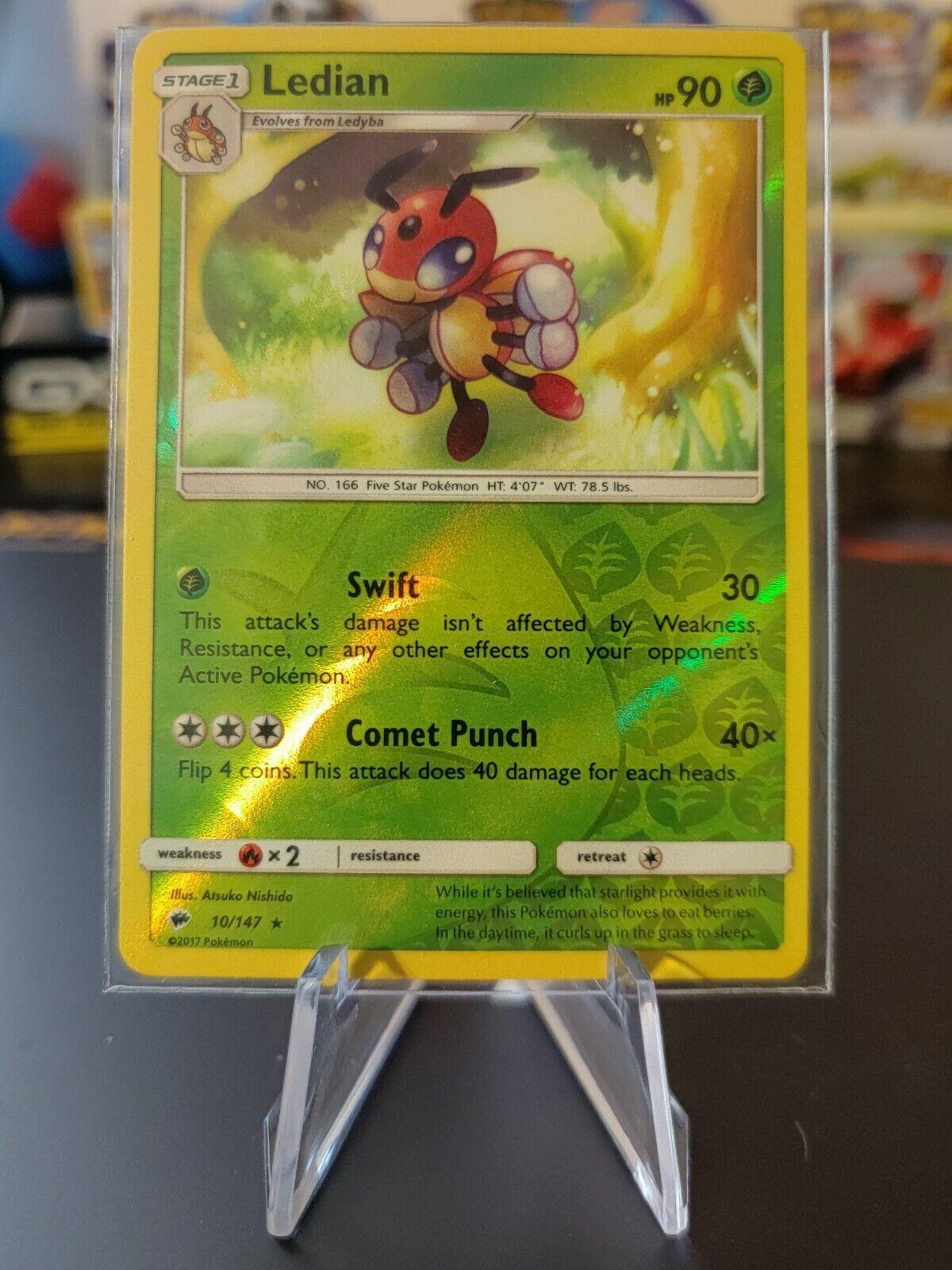 x4 Ledian 10//147 Rare Pokemon SM3 Burning Shadows M//NM English