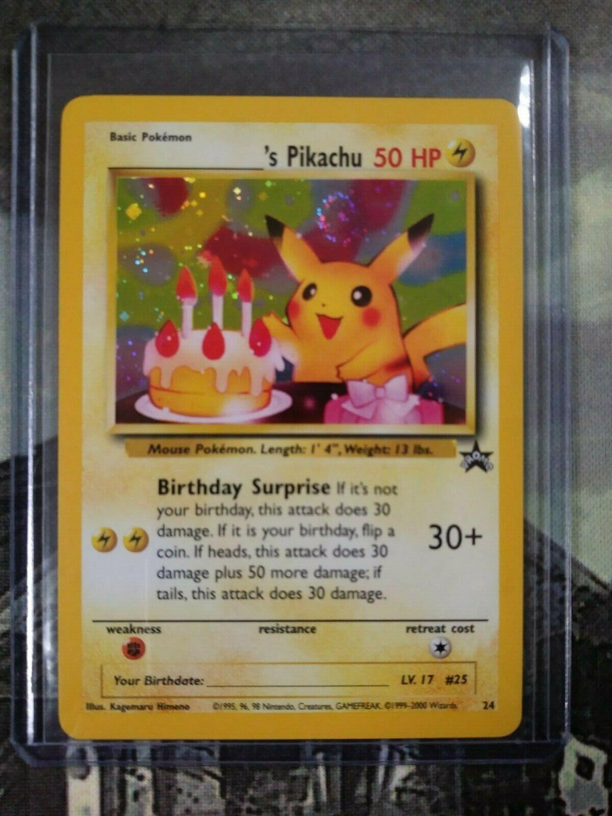 Black Star PROMO Pokemon Cards Birthday Pikachu HOLO RARE #24 NM//M