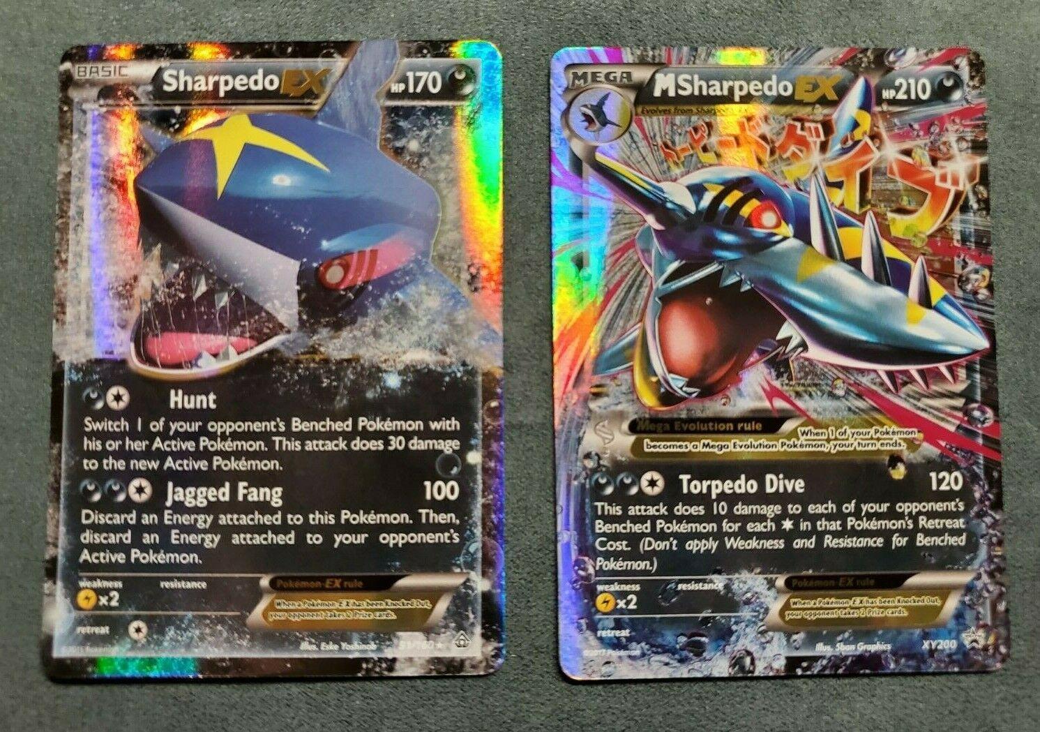 Pokemon Card Mega Sharpedo EX 91/160 & XY200 Primal Clash Black Star Promo NM