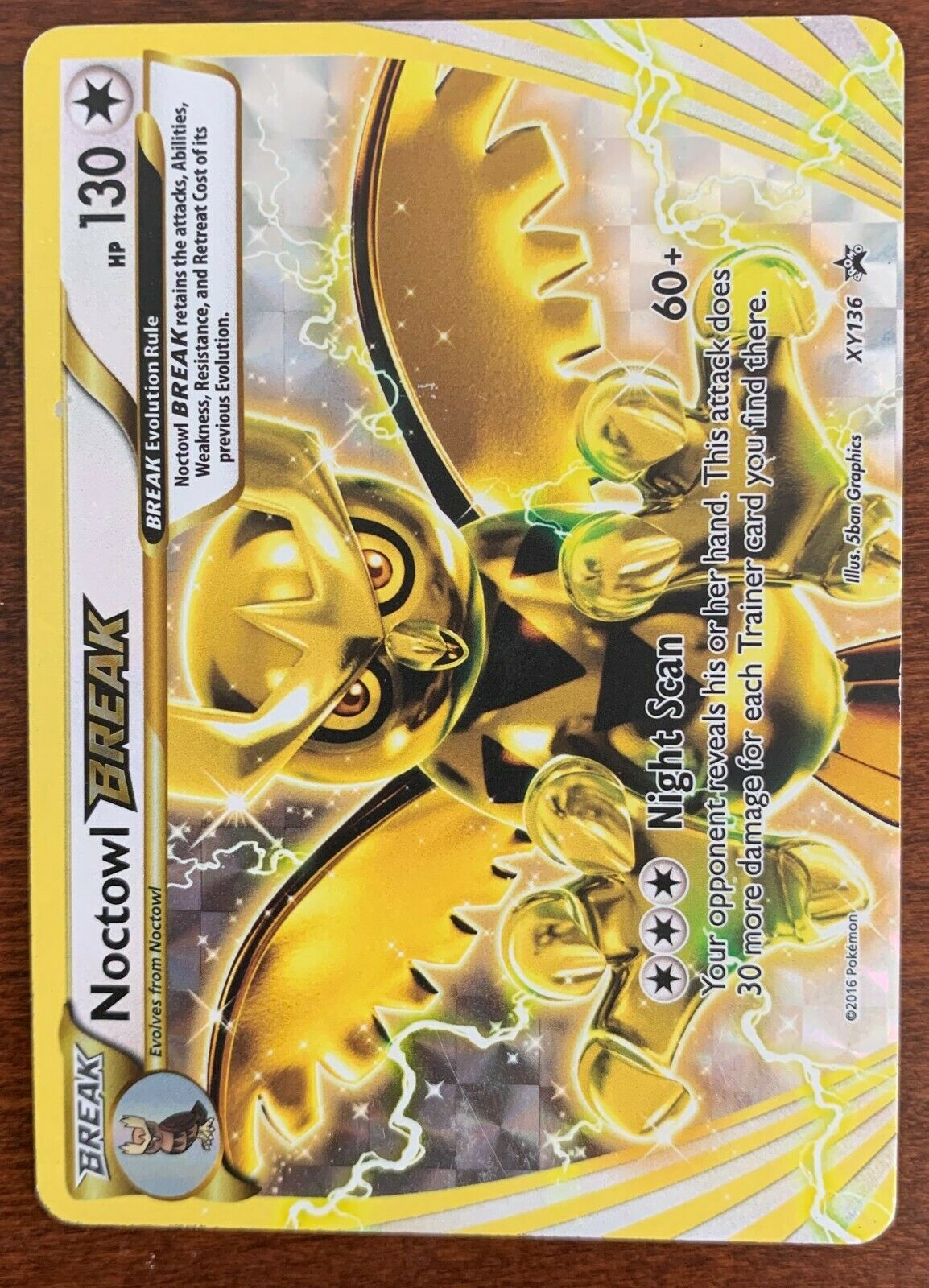 PL Pokemon NOCTOWL BREAK Card BLACK STAR PROMO Set XY136 Evolution Box PLAYED