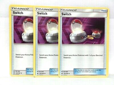 132//149 Pokemon Trainer Cards Sun /& Moon Base Set 4 x Switch