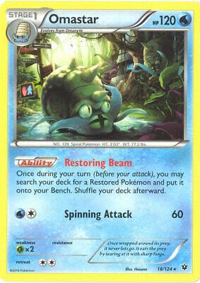 Pokemon Card - Fates Collide 18/124 - OMASTAR (rare) - NM/Mint