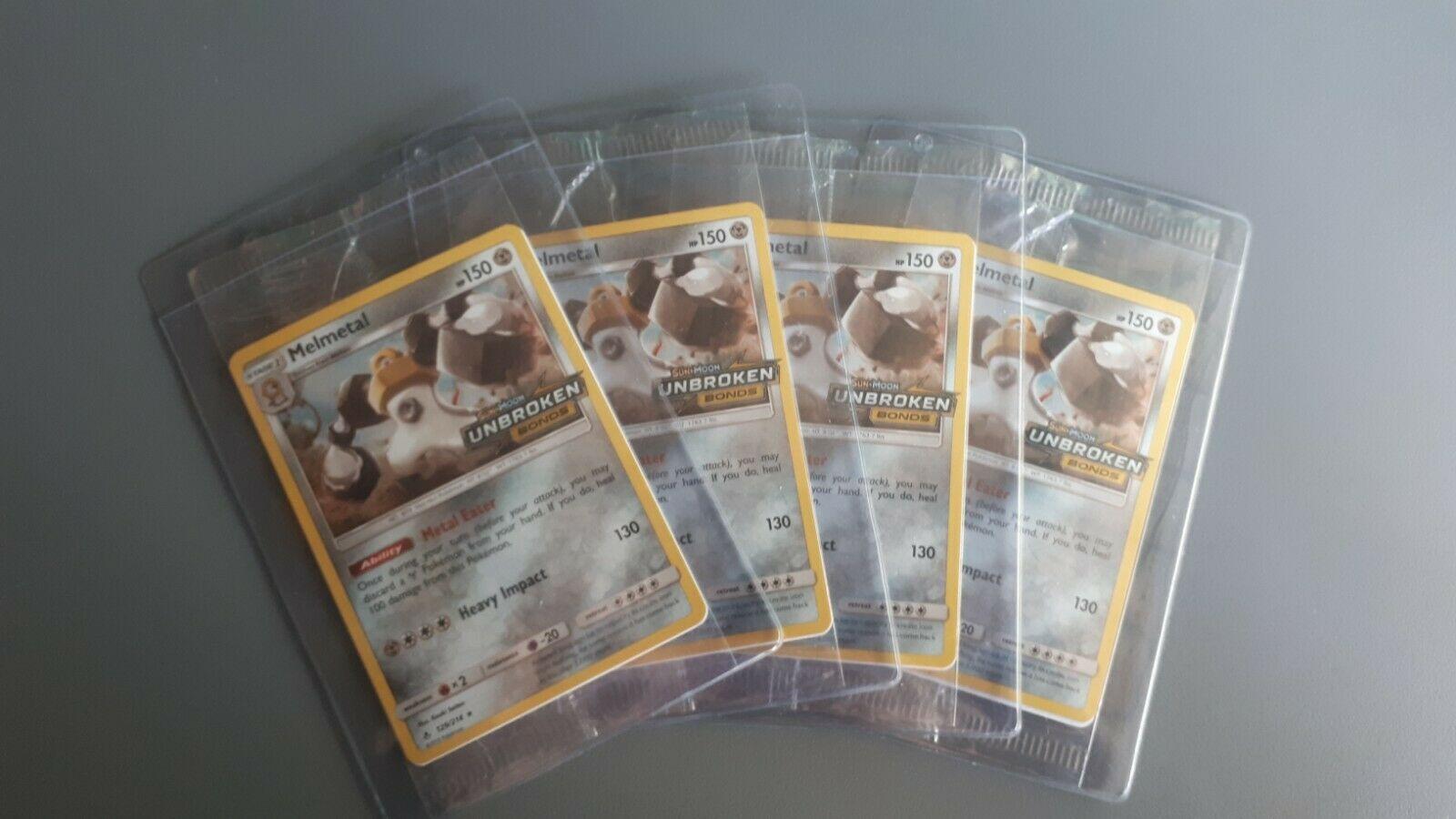 melmetal unbroken bonds 129/214 european stamp promo sealed pokemon 4 times