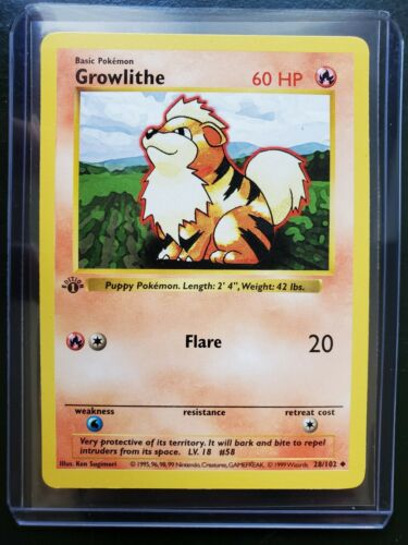 Base Set Shadowless 28//102 Growlithe Uncommon EX+ Pokemon
