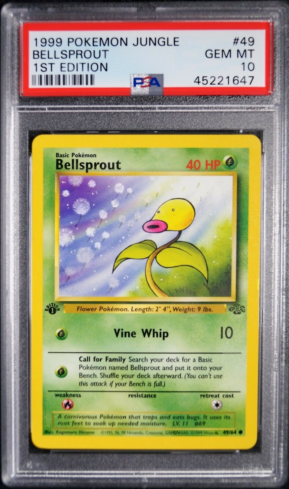 NM//Mint Condition Bellsprout Pokemon Card 1st Edition Jungle Set 49//64