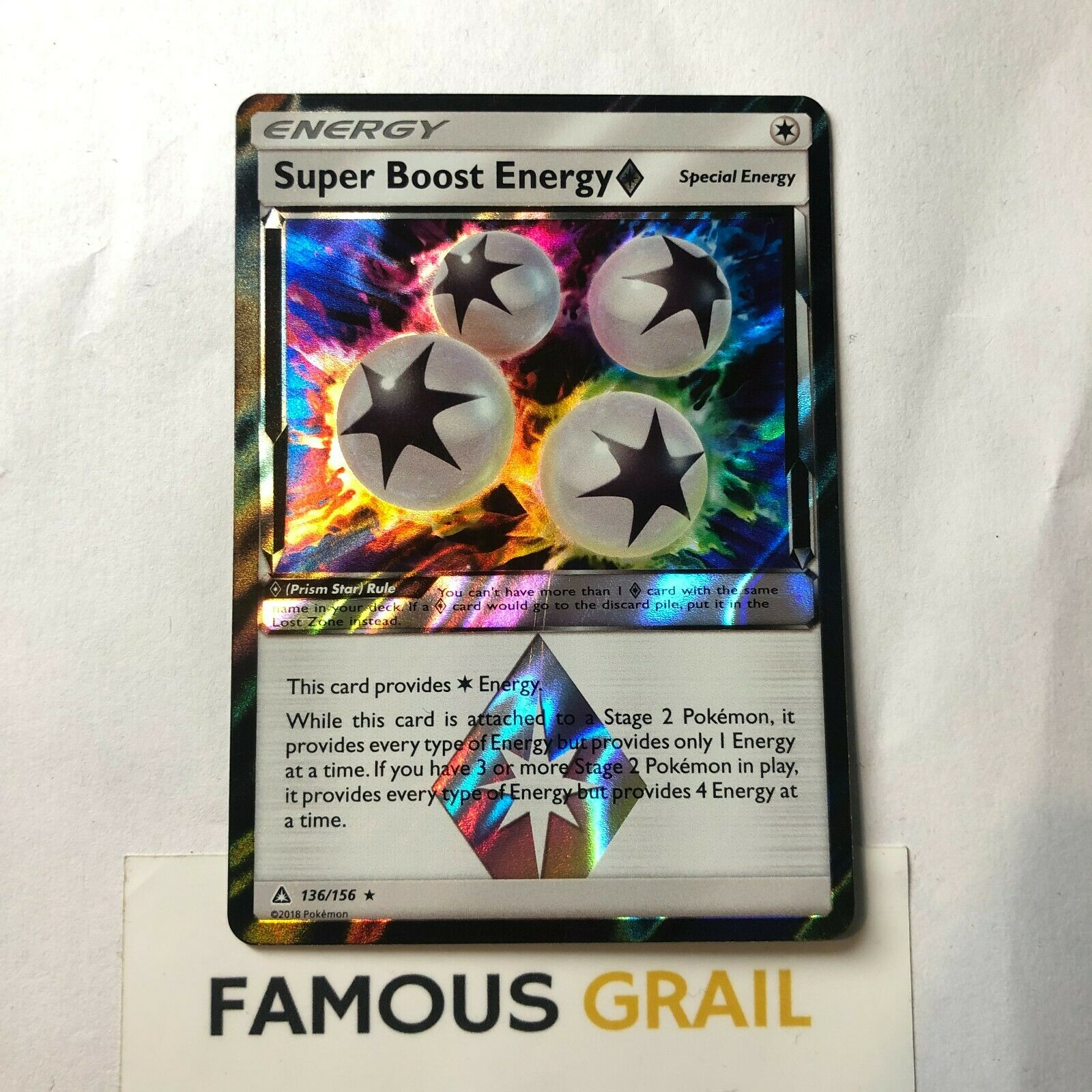 Holo Rare Sun /& Moon—Ultra Pris 4 x Pokemon Super Boost Energy Prism 136//156