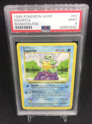 Pokemon Squirtle 63//102 1st Edition Base Set PSA 9 1999 TCG Game Shadowless