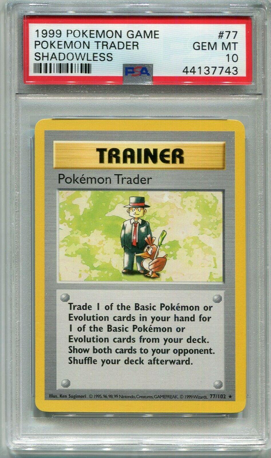 Pokemon WOTC Pokemon Trader 77//102 Base Set UNLIMITED Non-Holo Rare LP//NM