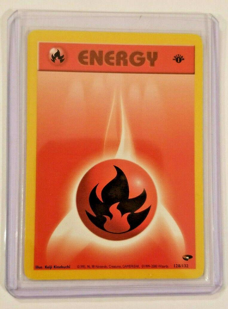 Pokemon card wizard energie fire energy 128//132 1st 1er edition gym challenge ne