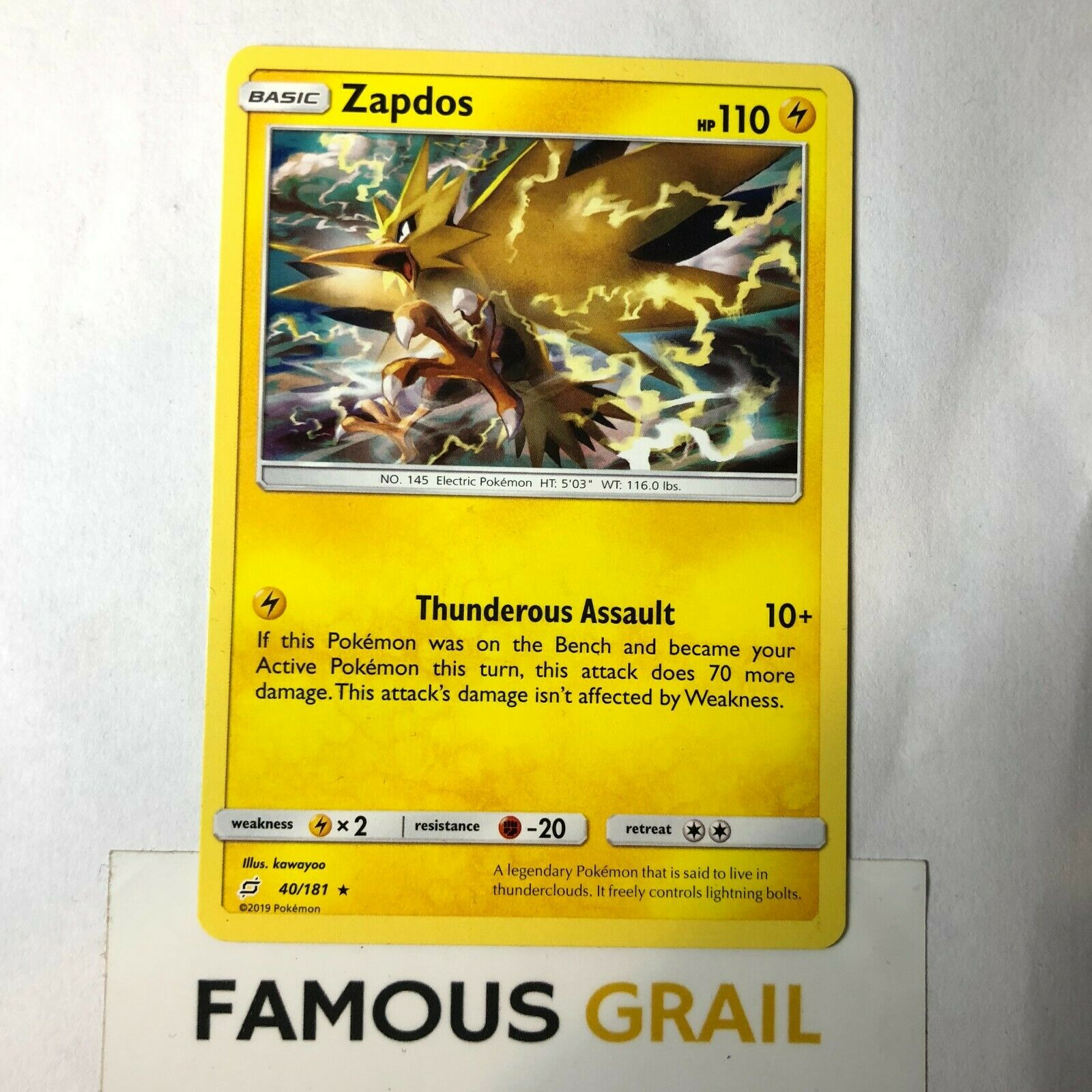 Rare x1 Zapdos 40//181 Non-Holo Theme Deck Exclusive Pokemon SM9 Team Up M//