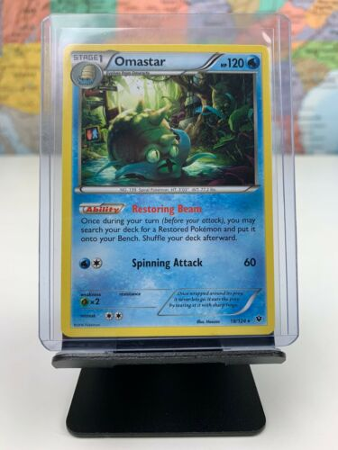 SHIPS SAME DAY Pokemon Card NM Omastar 18/124 Stage 1 Water Type 2016 Rare CCG