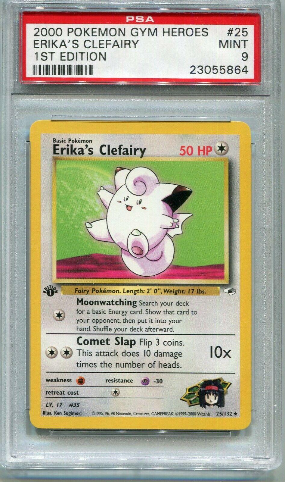 25//132 PK00500 Gym Hero 1st Ed Rare Erikas Clefairy