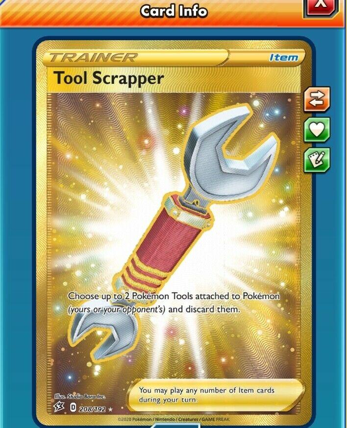 208//192 Tool ScrapperGold Secret Rare Card Pokemon Sword /& Shield Rebel Clash