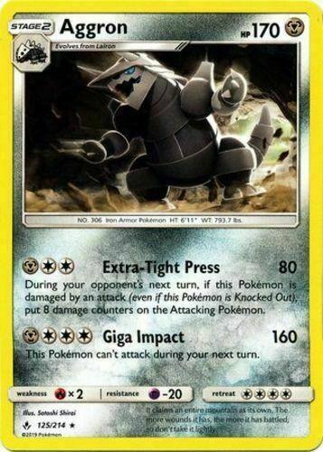 Pokemon 4X AGGRON 125/214 RARE NM CARD   UNBROKEN BONDS