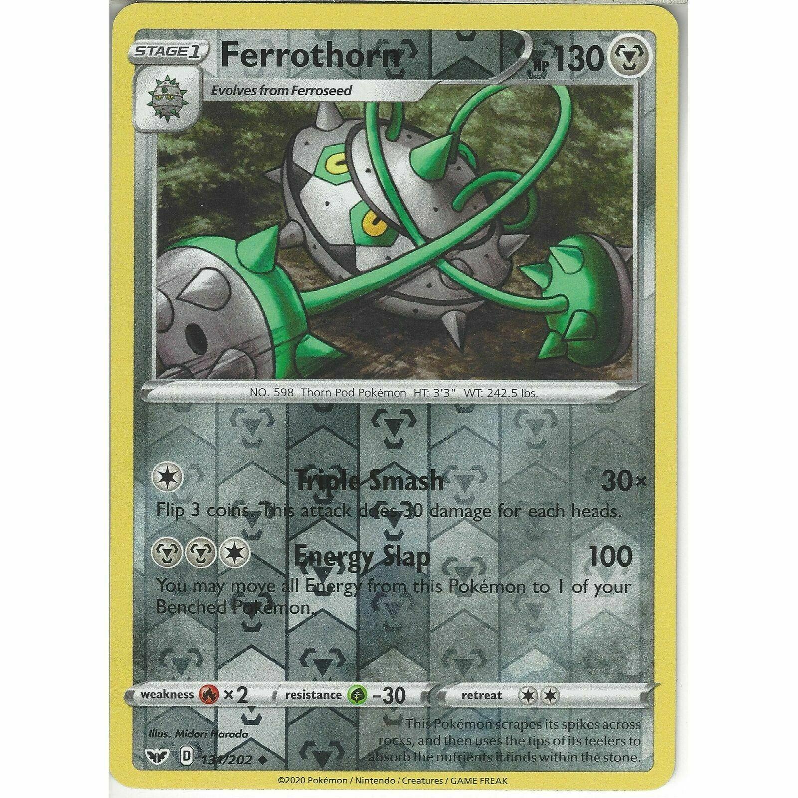 MINT Pokemon FERROTHORN 131//202 Sword /& Shield Rev Holo