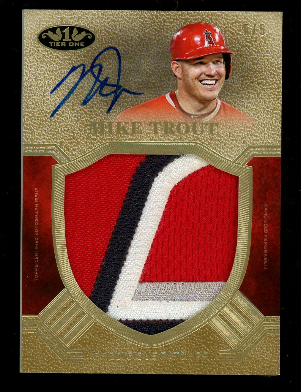 2018 Topps Tier One Prodigious Patches Mike Trout 4-Color Patch AUTO 5/5 Last # - Image 1