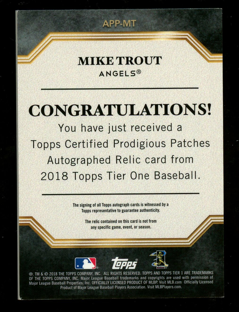 2018 Topps Tier One Prodigious Patches Mike Trout 4-Color Patch AUTO 5/5 Last # - Image 2