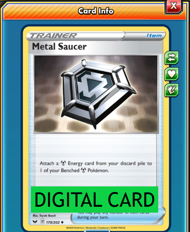 Pokemon TCG Trainer 170//202 Metal Saucer Sword /& Shield Base Set