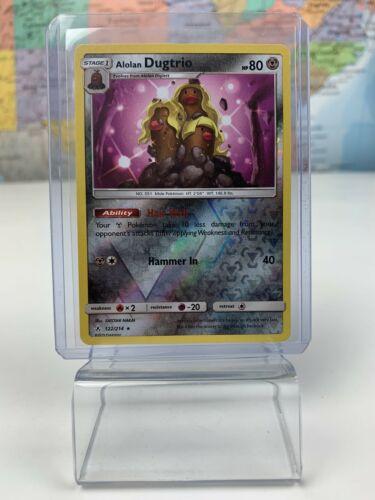 SHIPS SAME DAY Pokemon Card NM Alolan Dugtrio Holo 122/214 Stage 1 Metal Type