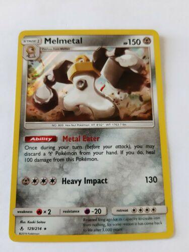 Pokemon Unbroken Bonds Melmetal Holo Rare Card Gem Mint 129/214